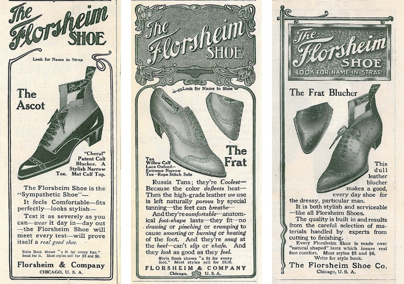 The image is three newspaper advertisiments for Florsheim shoes from 1896.