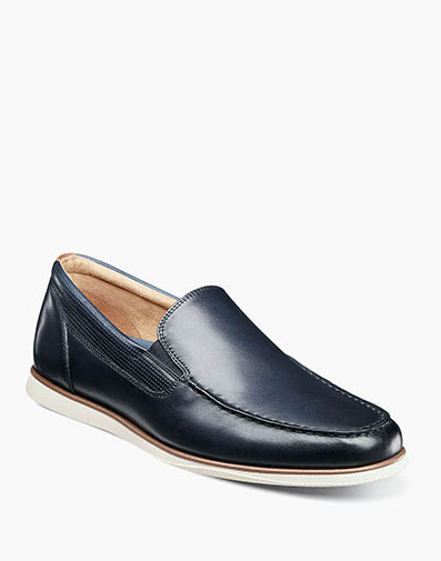 Atlantic Moc Toe Venetian Slip On in Navy for 120.00 dollars.