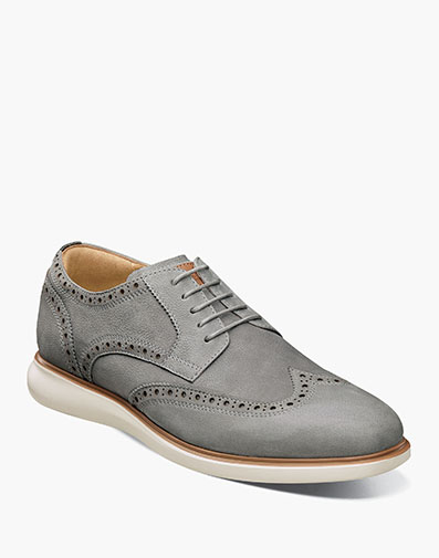 Fuel Wingtip Oxford in Light Gray for $175.00