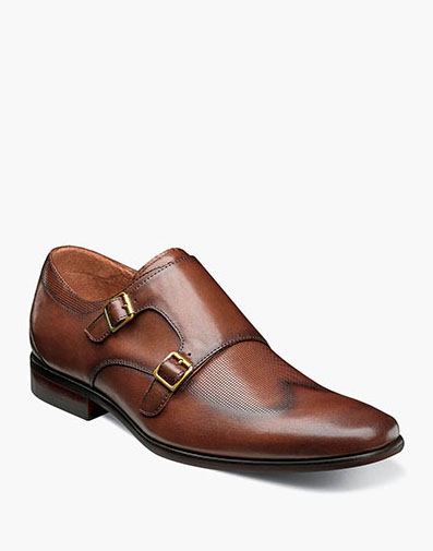 Postino Wingtip Monk Strap in Cognac for $160.00